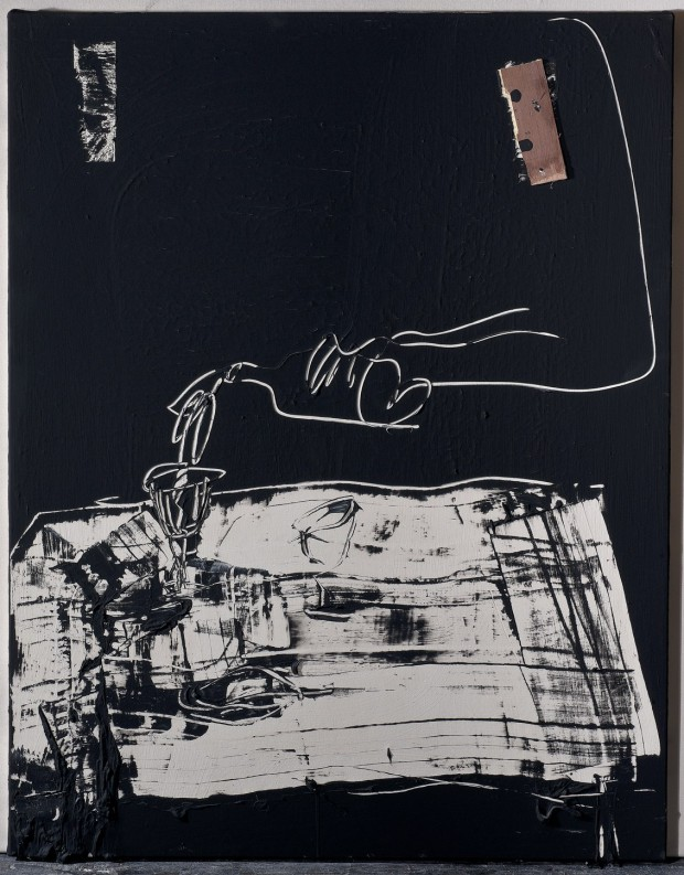 Arm, bottle and wineglass on white table